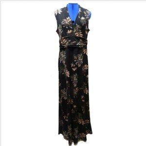 Le Chateau Long Casual  Dress Black Floral Size M